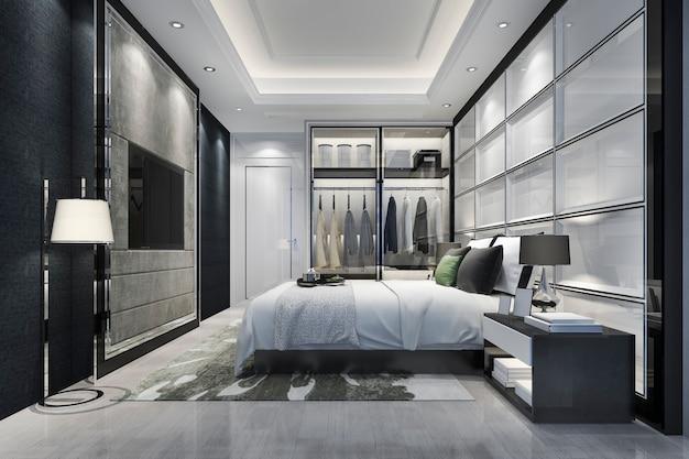 3d, das modernen schlafzimmersuitenluxusfernsehen mit garderobe überträgt und im wandschrank geht Premium Fotos
