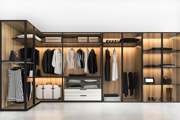 3d, das modernen skandinavischen weißen hölzernen weg im wandschrank mit garderobe nahe fenster überträgt Premium Fotos