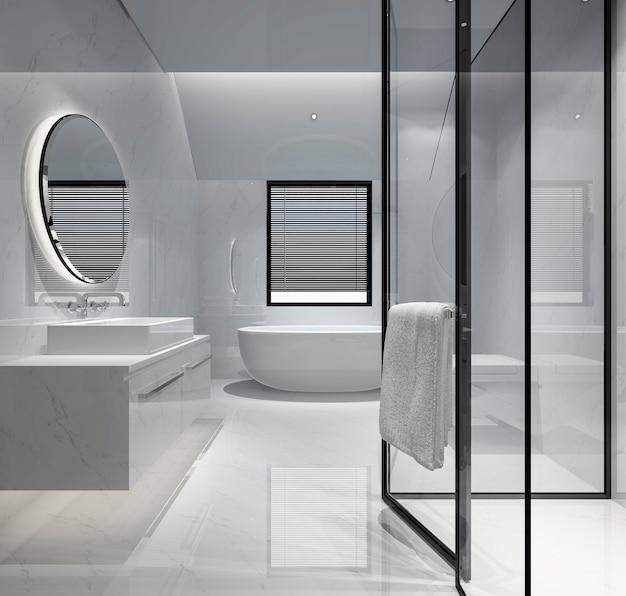 3d, das modernes badezimmer mit luxusfliesendekor überträgt Premium Fotos