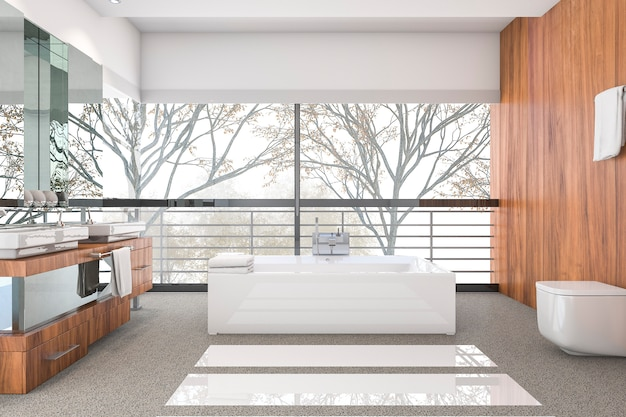 3d, das modernes minimales badezimmer mit skandinavischem dekor und netter naturansicht vom fenster überträgt Premium Fotos