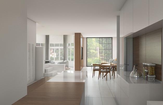 3d, das nette gegenküche nahe esszimmer mit garten überträgt Premium Fotos