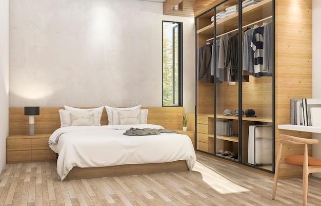3d, das nettes hölzernes zeitgenössisches schlafzimmer mit nettem stoffkabinett überträgt Premium Fotos