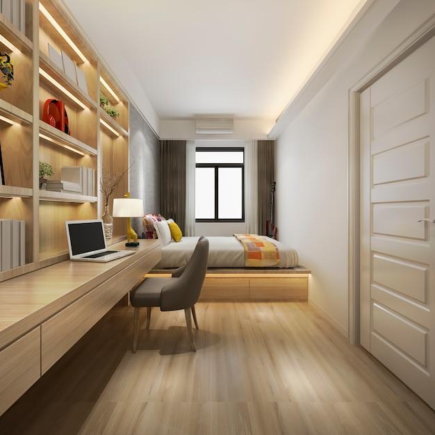 3d, das schöne luxusschlafzimmersuite im hotel mit fernsehapparat und funktionstabelle überträgt Premium Fotos