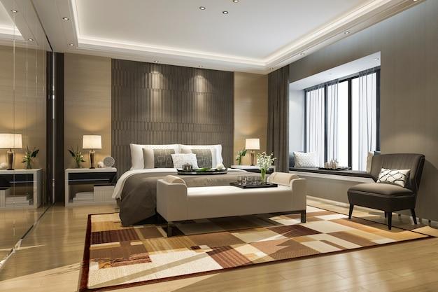 3d, das schöne luxusschlafzimmersuite im hotel mit spiegelgarderobe überträgt Premium Fotos