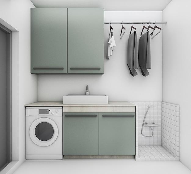 3d, das schöne waschküche mit sauberer bedingung überträgt Premium Fotos