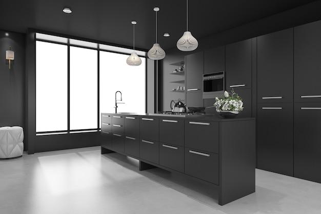 3d, das schwarze moderne luxusküche und esszimmer überträgt Premium Fotos