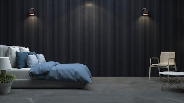 3d, das schwarzes hölzernes wandschlafzimmer mit nettem licht überträgt Premium Fotos
