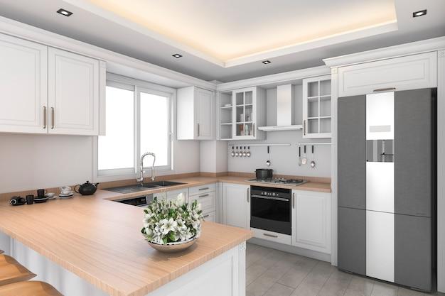 3d, das weiße küche und esszimmer des klassischen designs überträgt Premium Fotos