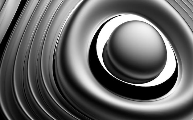 3d des abstrakten hintergrunds mit einem teil der kugel in organisch gekrümmten glatten weichen und runden bioformen in mattem und glänzendem aluminium Premium Fotos