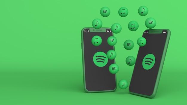3d-design von zwei telefonen mit spotify-popup-symbolen Premium Fotos
