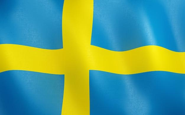 3d flagge von schweden. Premium Fotos