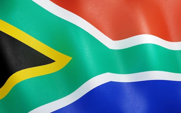 3d flagge von südafrika. Premium Fotos