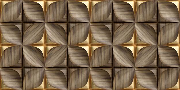 3d-fliesen aus edelholz mit goldenen dekorelementen Premium Fotos