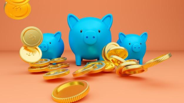 3d gerenderte illustration von drei blauen sparschweinen und fallenden goldenen münzen Premium Fotos