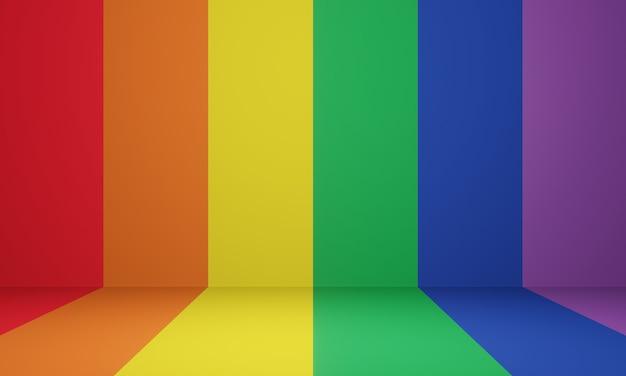 3d gerenderte lgbtq + bühne. regenbogenraum. Premium Fotos