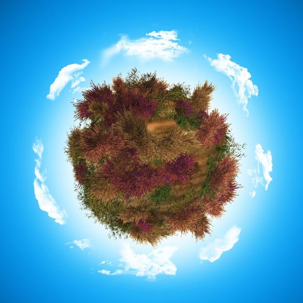 3d-globus mit heidekraut und farn Kostenlose Fotos