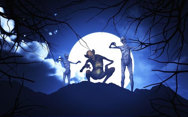 3d halloween dämonen in einer gruseligen landschaft Premium Fotos