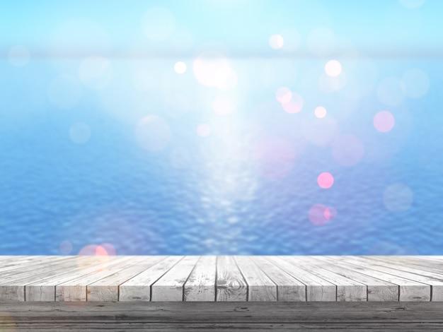 3d holztisch, der heraus zu einem blauen ozean schaut Kostenlose Fotos