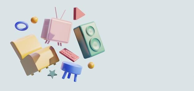 3d-home-entertainment-szene, stuhl mit fernseher und lautsprecher Premium Fotos