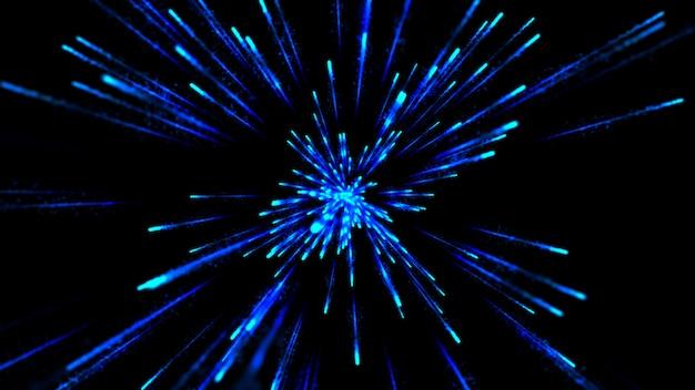 3d hyper sprung in eine andere galaxie. schleifen von abstrakten animationslinien. Premium Fotos