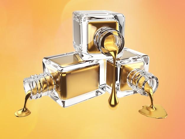 3d illustration der goldkosmetikflasche mit tropfen Premium Fotos