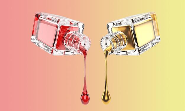 3d illustration der kosmetischen glasflasche mit mit gold und roten tropfen Premium Fotos