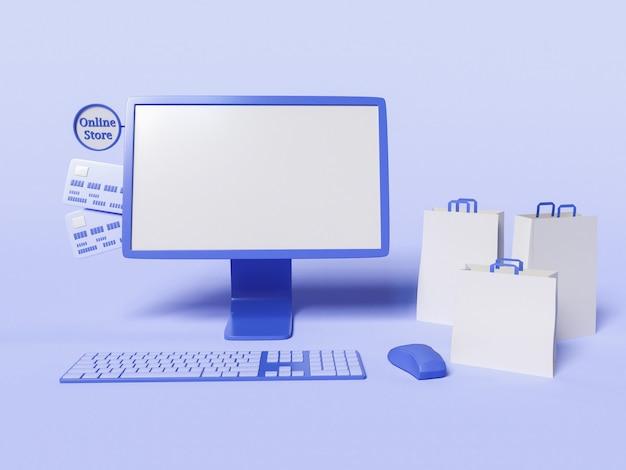3d-illustration des computers mit papiertüten und kreditkarten Kostenlose Fotos