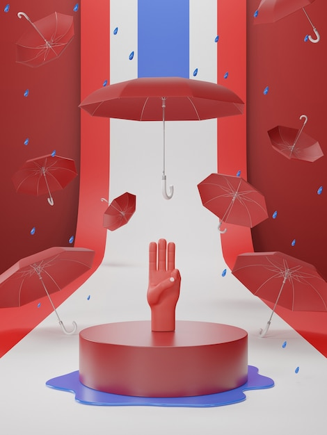 3d-illustration des drei-finger-grußes für demokratisch auf thailand Premium Fotos