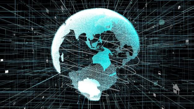 3d-illustration des globalen online-internet-netzwerkkonzepts Premium Fotos