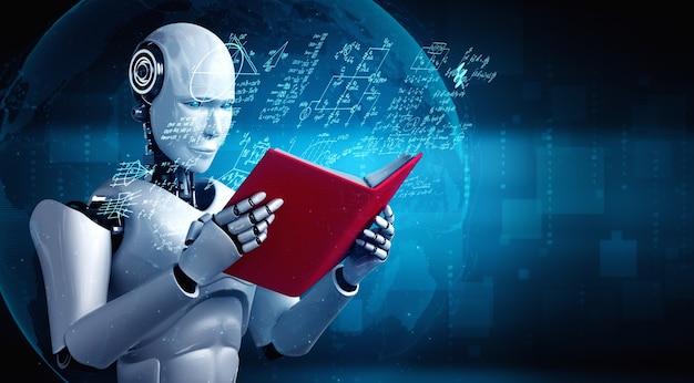 3d-illustration des humanoiden lesebuchs des roboters und des lösens der mathematik Premium Fotos