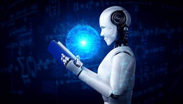 3d-illustration des humanoiden lesebuchs des roboters Premium Fotos