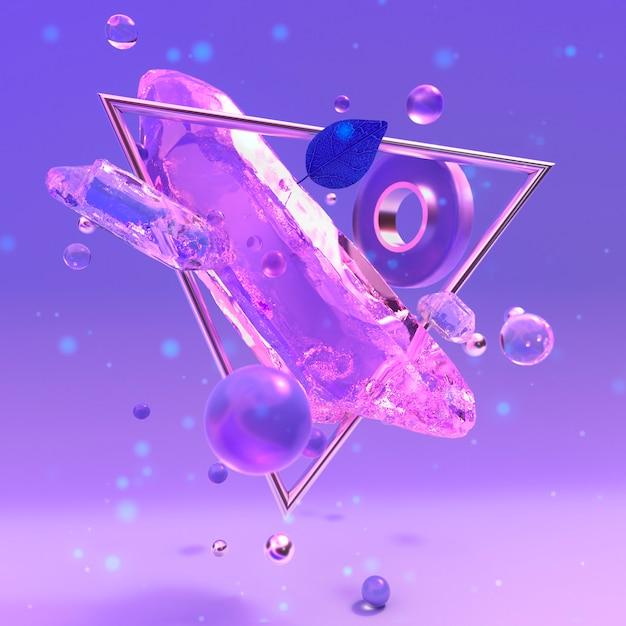 3d-illustration des magischen kristallpurpur-abstrakten glases 3d-illustration Premium Fotos