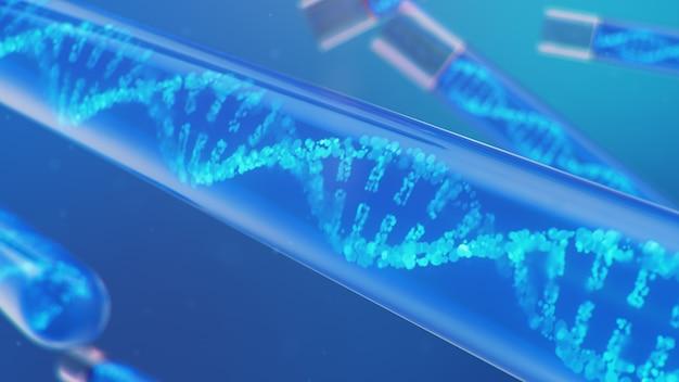 3d illustration dna-molekül, seine struktur. konzept menschliches genom Premium Fotos