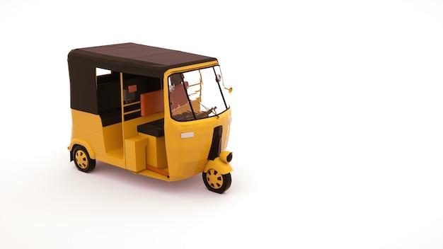 3d illustration eines rikschaautos, eines fahrzeugs zum transportieren von personen. tuk tuk auto, gestaltungselement lokalisiert auf weißem hintergrund. Premium Fotos
