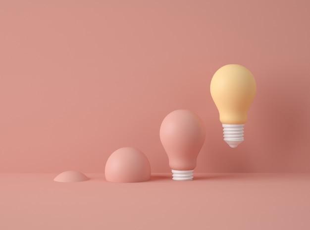 3d-illustration. reihe von glühbirnen mit einer verschiedenen farbe. Premium Fotos
