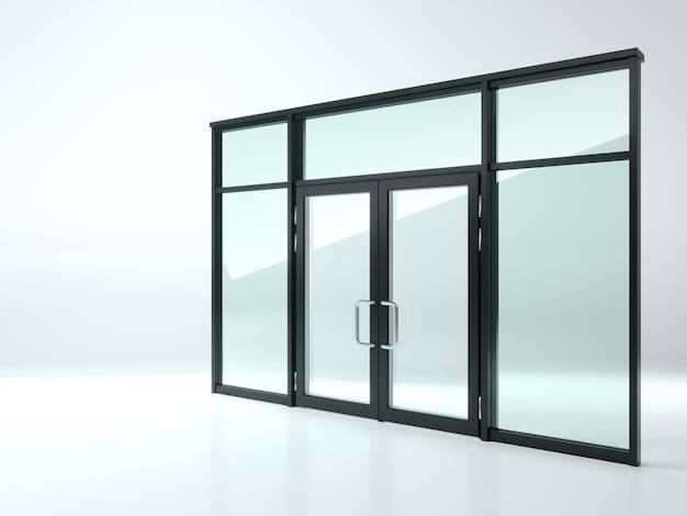 3d-illustration. schwarze doppelglastür im laden oder in den fenstern. Premium Fotos