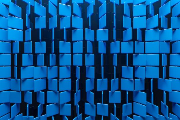 3d illustration von reihen von blauen quadraten. satz von würfeln auf monokromem hintergrund, muster. geometrie hintergrund Premium Fotos
