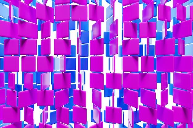 3d illustration von reihen von lila und rosa quadraten. satz von würfeln auf monokromem hintergrund, muster. geometrie hintergrund Premium Fotos