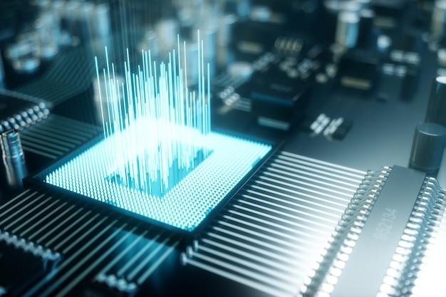 3d-illustrationscomputerchip, ein prozessor auf einer leiterplatte. das konzept der datenübertragung in die cloud. zentralprozessor in form von künstlicher intelligenz. datentransfer Premium Fotos
