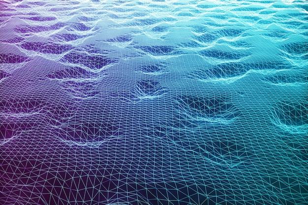 3d-illustrationslandschaftshintergrund. cyberspace-landschaftsgitter. 3d-technologie. abstrakte blaue landschaft auf schwarzem hintergrund mit lichtstrahlen. Premium Fotos