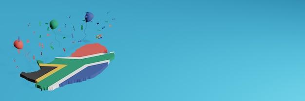 3d-karten-rendering in kombination mit der südafrikanischen landesflagge für soziale medien und plus hintergrundhintergrund der website grüne blaue rote schwarze luftballons, um unabhängigkeitstag und nationalen einkaufstag zu feiern Premium Fotos
