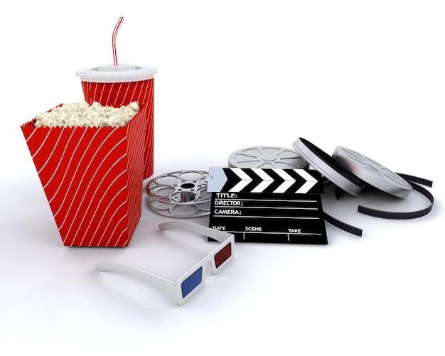 3d-kino im zusammenhang mit ausrüstung isoliert über weiß Kostenlose Fotos