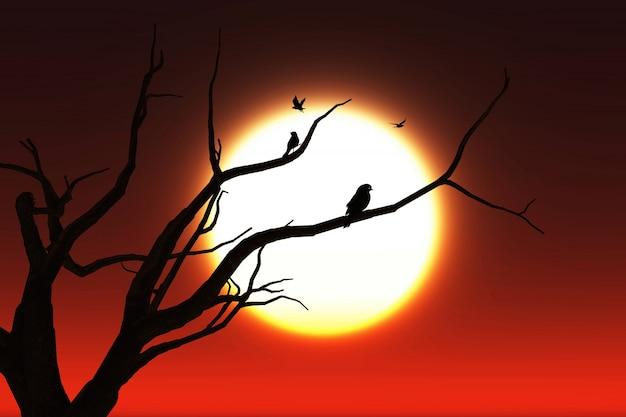 3d-landschaft hintergrund mit silhouetten von vögeln in einem baum gegen einen sonnenuntergang himmel Kostenlose Fotos
