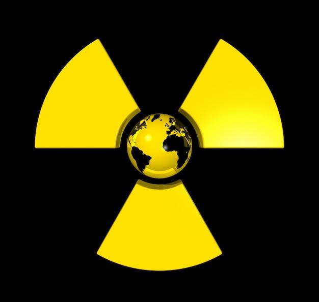 3d lokalisierte weltkugel in der mitte einer radioaktiven symbolikone Premium Fotos