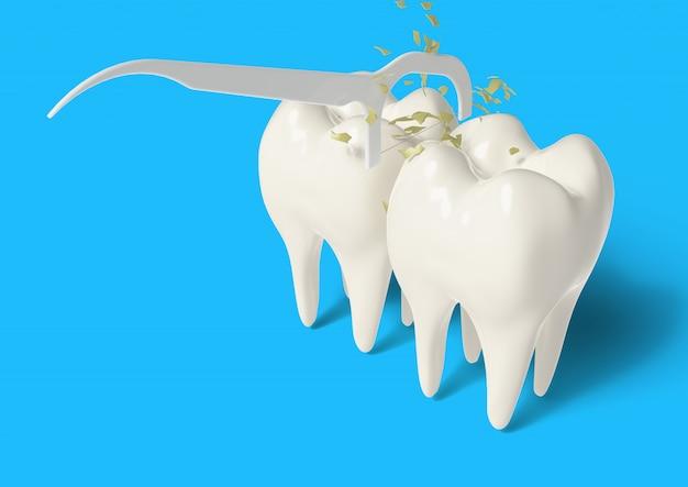 3d machen sauberen zahn mit zahnseide Premium Fotos