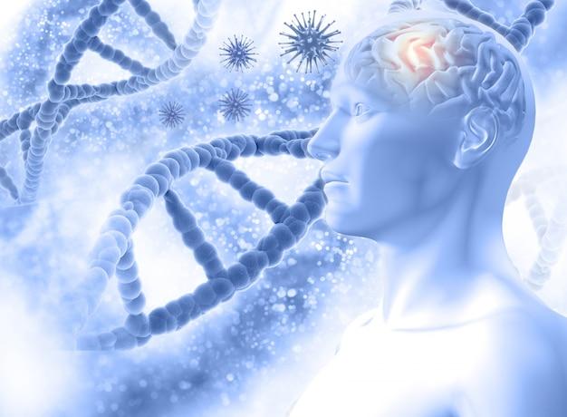 3d medizinischen hintergrund mit einer männlichen figur mit gehirn und virus-zellen Kostenlose Fotos