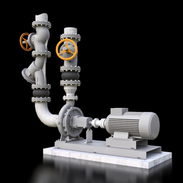 3d-modell eines industriellen pumpen- und rohrabschnitts mit absperrventilen auf einem schwarzen isolierten hintergrund. 3d-illustration. Premium Fotos
