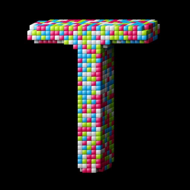 3d pixelated alphabetbuchstabe t Premium Fotos