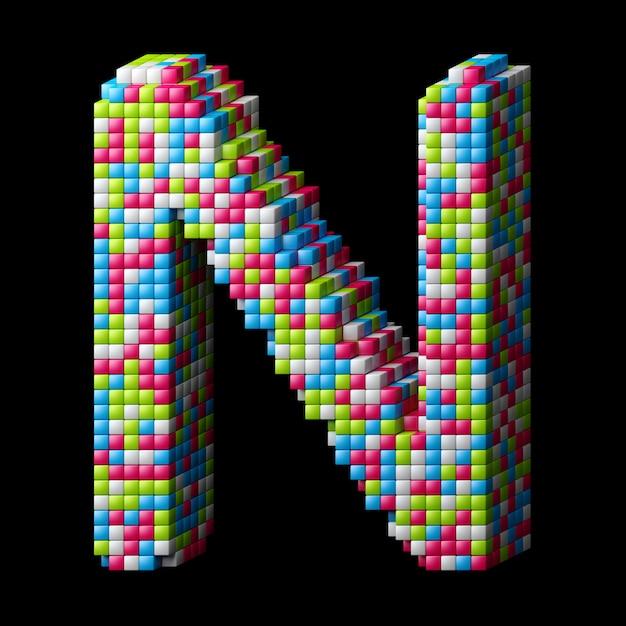 3d pixeliges alphabet. buchstabe n gemacht von den glatten würfeln lokalisiert auf schwarzem. Premium Fotos