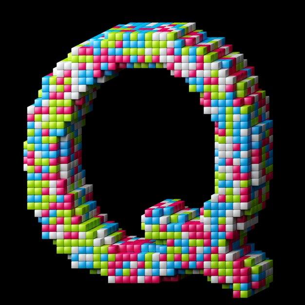 3d pixeliges alphabet. buchstabe q gemacht von den glatten würfeln lokalisiert auf schwarzem. Premium Fotos